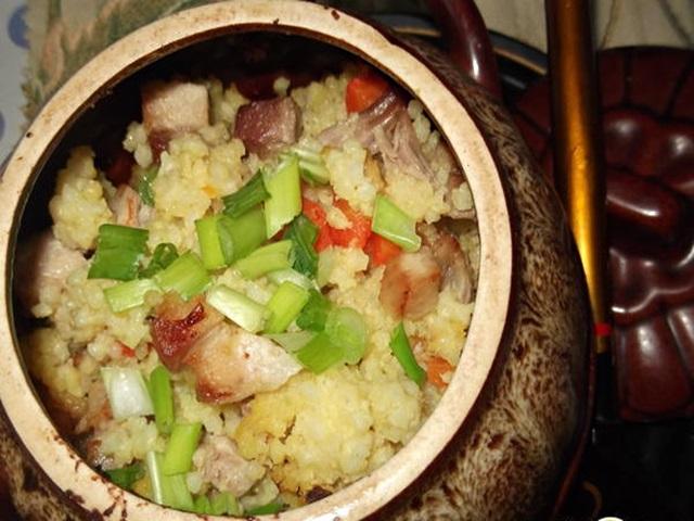 Пшенная каша с мясом и овощами