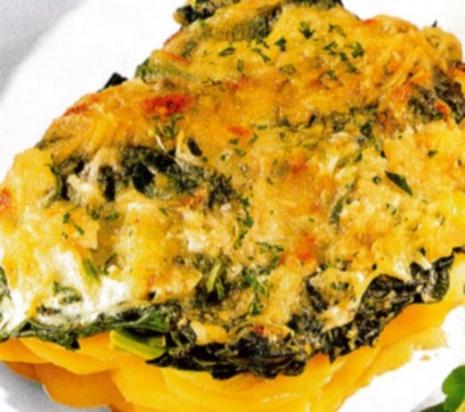 Картофельная запеканка со шпинатом
