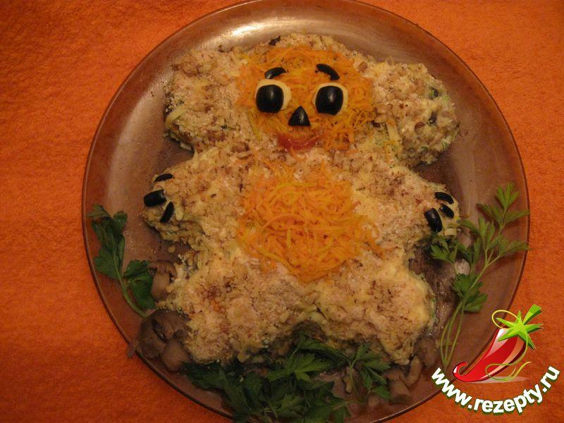Салат из курицы с грибами рецепты 77
