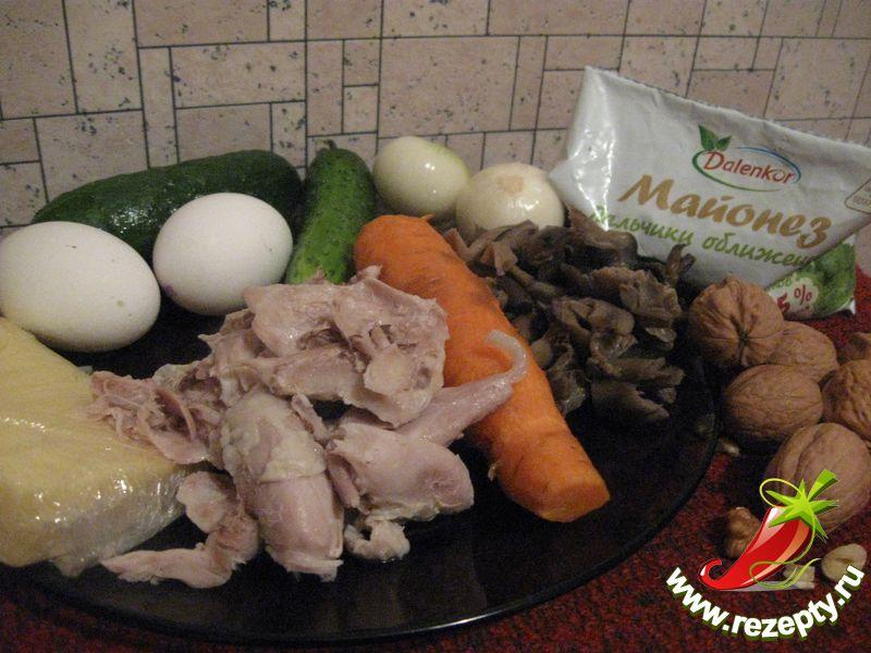 Салат из курицы с грибами рецепты 176