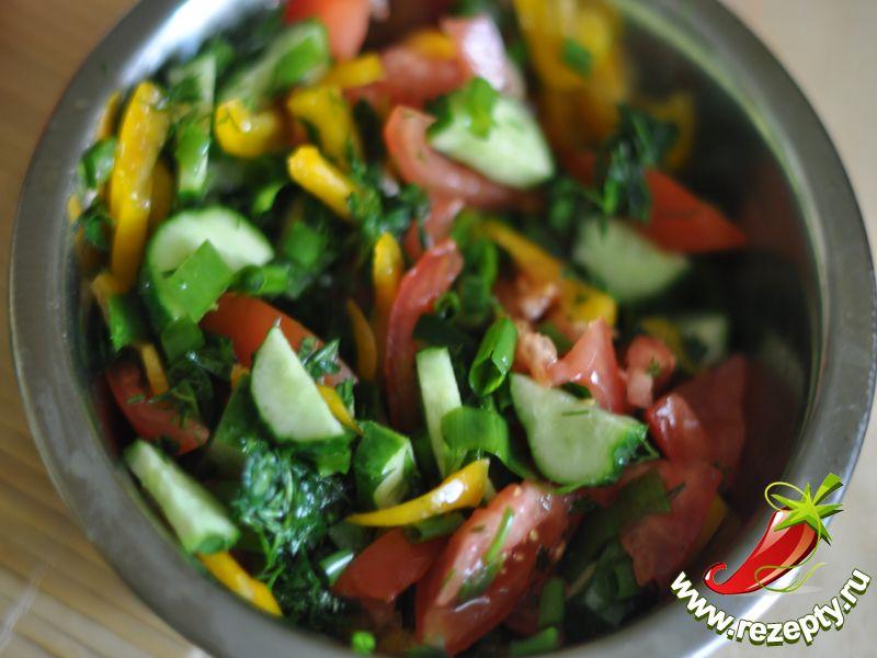 Добавить к овощам, перемешать