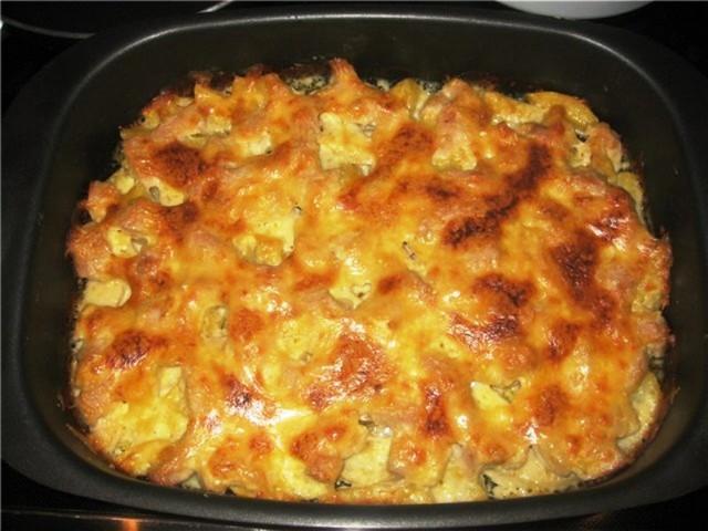 Картошка с курицей в духовке с майонезом и чесноком рецепт пошагово