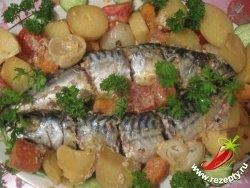 Рыба с овощами, запечённая в рукаве