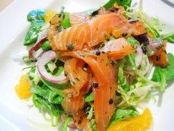 Салат из семги слабосоленой