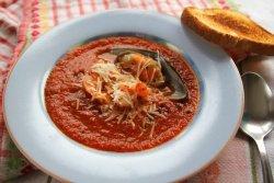 Суп-пюре из томатов с морепродуктами