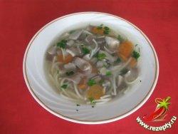Суп из вешенок с макаронами