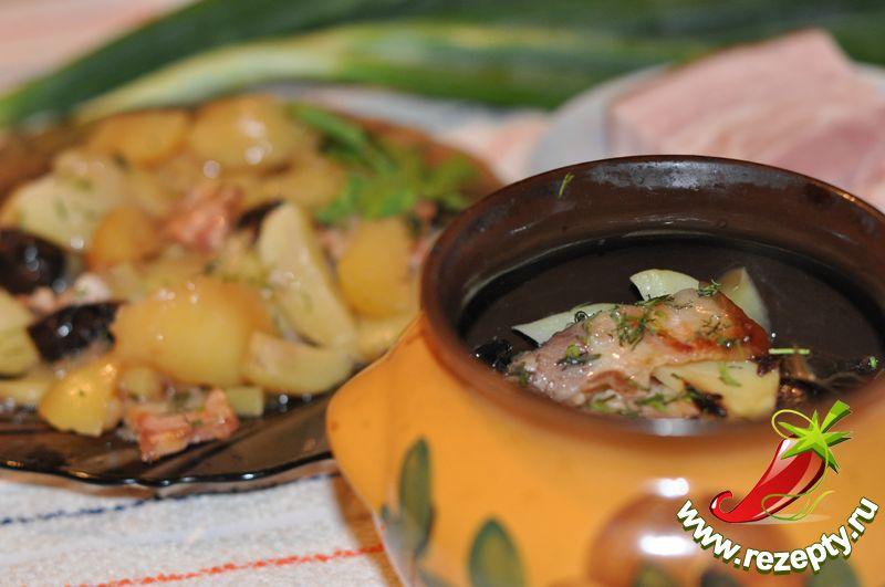 Тушёный картофель с грудинкой